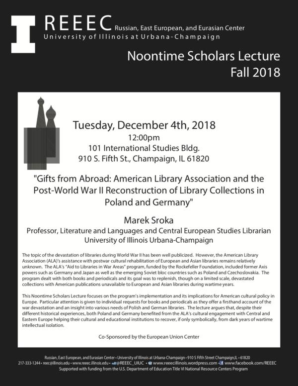 Campus International Events: REEEC Noontime Scholars Lecture: Marek