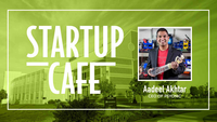 Startup Cafe with Aadeel Akhtar promotional image with headshot of Aadeel Akhtar
