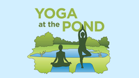Graphic of people doing yoga in front of a pond