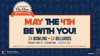 Rec Room May the 4th Be With You Special bowling and billiards for $4